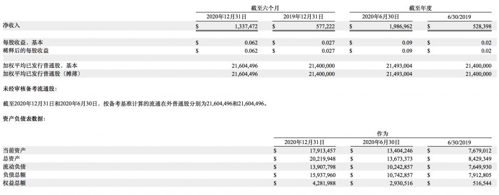 iPower公司财务数据