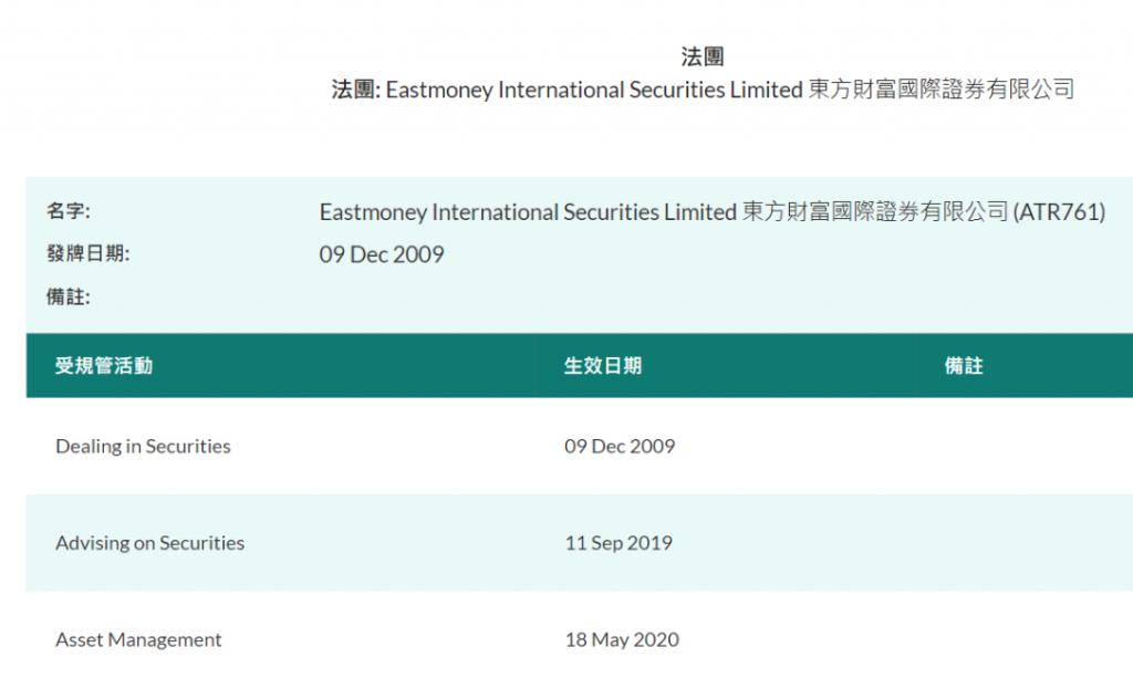 东财国际证券持牌信息